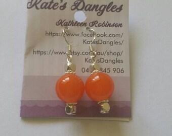 Orange earrings, silver earrings, silver and orange earrings, sterling silver earrings, hook earrings