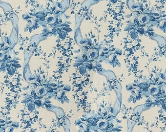 DESIGNER ENGLISH COUNTRY Shabby Roses Ribbons Linen Toile Fabric 10 Yards Blue White