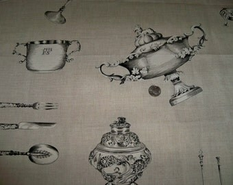 LEE JOFA KRAVET Treasured Silverware French Toile Linen Fabric 10 Yards Charcoal Black Natural