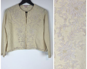 SALE SALE SALE Vintage 1950s cream sequin and bead floral embellished Cardigan 50s 60s  Rose M1348