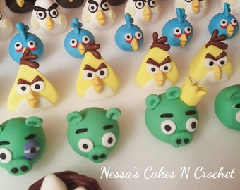 Angry Birds fondant cupcake 3D toppers
