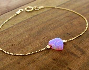 Opal bracelet, heart bracelet, gold bracelet, opal heart bracelet, pink opal bracelet, glistening bracelet, fire opal bracelet