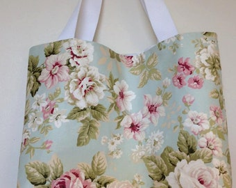 Bag, Floral Tote Bag, Shopping Bag With Vintage/Shabby Chic Feel
