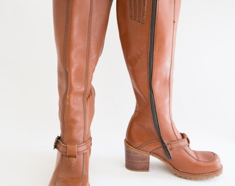 Vintage 1970's Carmel Brown Knee High Boots, Size-8