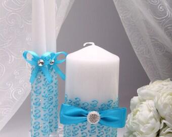 Wedding unity candle Aqua Blue - Hand-PAINTED-Unity Candle set Personalized Wedding Unity candle Wedding Candle set blue Unity candles blue