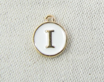"""White and Gold Enamel Letter """"I"""" Charm, 1 or 5 letters per package  ALF003i-W"""