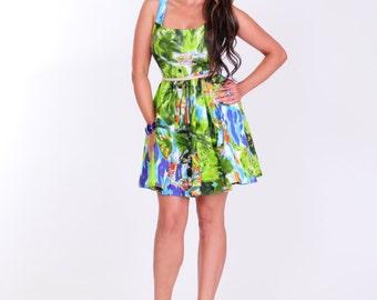 Pretty spring summer denim print dress