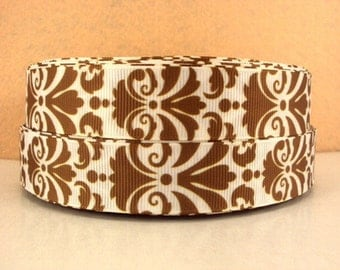 7/8 inch BOLD DAMASK - Brown on White - FILIGREE Printed Grosgrain Ribbon for Hair Bow