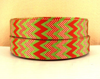 7/8 inch CHEVRON (Style 500) (RED DOTTED) Printed Grosgrain Ribbon for Hair Bow