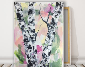 original pastel birch tree painting abstract birch tree art modern landscape painting