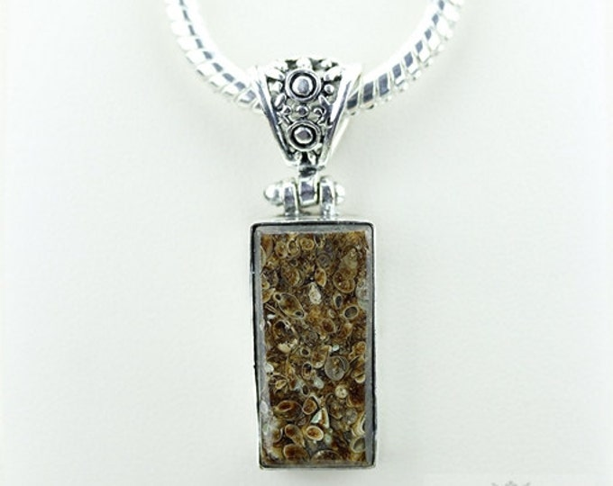 Rectangle Shaped TURRITELLA AGATE Fossil 925 S0LID Sterling Silver Pendant + 4MM Snake Chain & Free Worldwide Shipping P3532