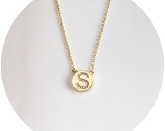 Initial on Coin Necklace - Gold