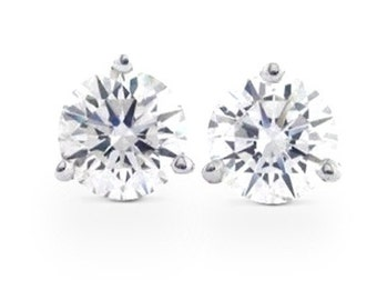 0.50ct H/I VS2/SI1 Martini 3 Prong Diamond Studs 14K White Gold