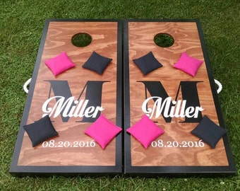 """Custom Cornhole Sets - Tops are flush with the frame - Hand Painted 23/32"""" cabinet grade plywood, folding legs & 8 regulation bags included!"""