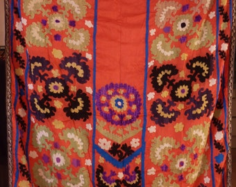 Suzani, Handembroidered Silk Suzani Wallhanging, Uzbek Embroidery, Vintage