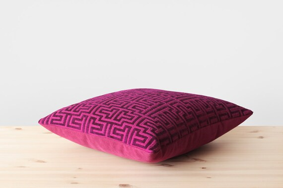 Fuschia Modern Pillows : Purple and Fuchsia Pillow Cover Modern Geometric Throw Pillows