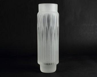 Tall iced and polished vintage glass vase, Mid Century, Germany, 50s-60s