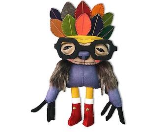 Salvatore the Sloth - handmade plush creature plushie toy - unique birthday gift