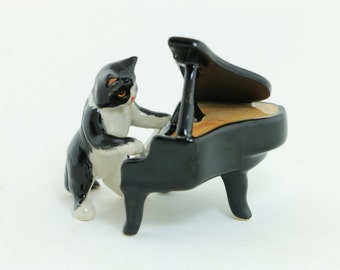 2 Pieces (Cat And Piano) - Cat Musician Miniature Ceramic - Playing Piano - Porcelain Figurine  Home Decor -  Best Quality