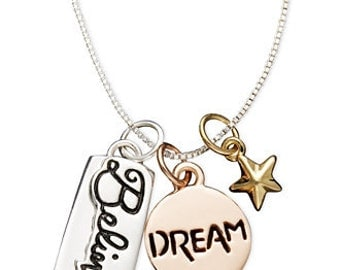 Inspirational necklace Dream Believe in Yellow Gold, Rose Gold, and Silver