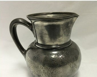 Weekend Super Sale! Wilcox Silverplate Pitcher with Flowers Etched