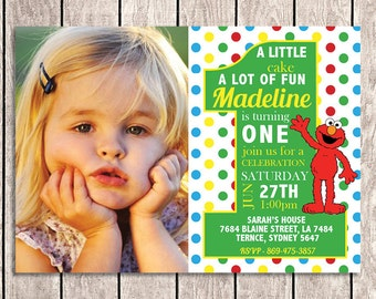 Elmo Sesame Street Birthday Invitation - With Custom Photo - SS01-1