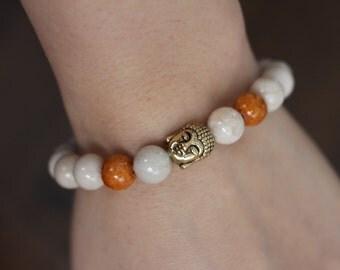 Bracelet fossil stones, golden buddha charm