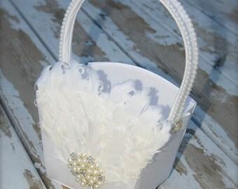 flower girl basket, large wedding basket, wedding decoration, feather wedding, feather, white basket, ivory basket gatsby wedding
