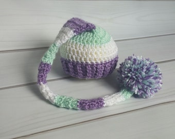 Ready to Ship - Newborn Props - Baby Girl Stocking Hat - Long Pom pom Hat - Purple and Mint Hat - Long Pixie - Purple Baby Girl Hat
