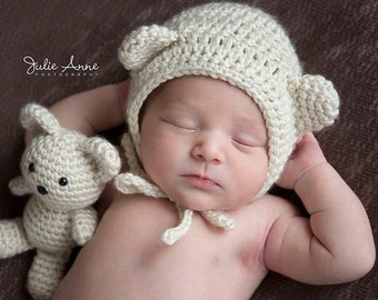 Newborn Prop - Baby Shower Gift - Teddy Bear Prop - Bonnet and Stuffie - Teddy Bear - Newborn Bonnet - Newborn Photography Prop