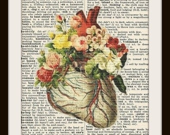 Anatomical Heart with Flowers--Vintage Dictionary Art Print-Fits 8x10 Mat or Frame