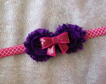 Pink & Purple Headband/Newborn Headband/Infant Headband/Toddler Headband/Spring Headband/Shabby Flower Headband