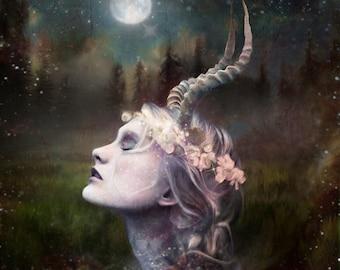 Lady Love Horned  Goddess Art print altar magic pagan wicca wall art