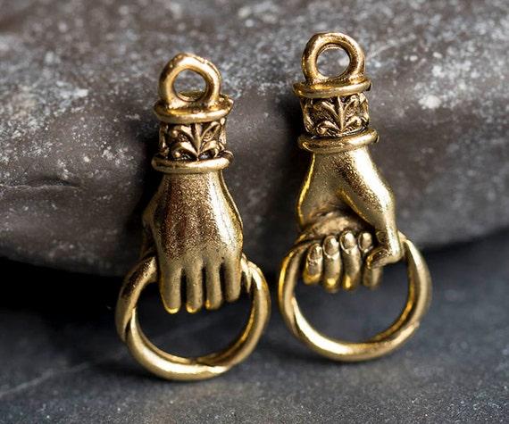 Hand Charm Hand Holding Ring Connector Fleur De Lis