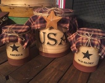 Primitive Americana Rusty Tin Can Set