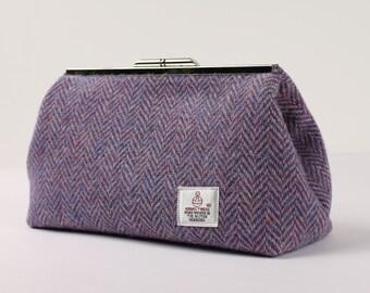 Clutch Bag Harris Tweed Lilac Herringbone