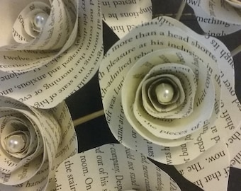 Harry Potter Flowers 12 Recycled Book Page Flowers Paper Flowers FREE SHIPPING