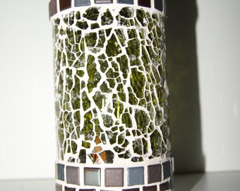 Mosaic candleholder,  from recycled wine bottle nr. 179