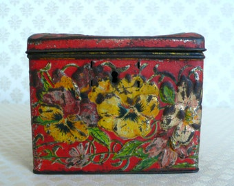 Russian Imperial Antique 19th century Tea Tin Box Vysockij fire red with Flower art nouveau ornamentation
