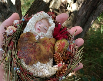 FAIRY baby in magical nest