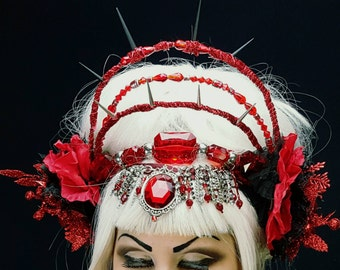 Red tribal jewel headdress headband