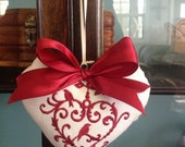 Valentine Embroidered Linen Look Fabric Heart with Satin Bow - Valentine Ornament #1067-16