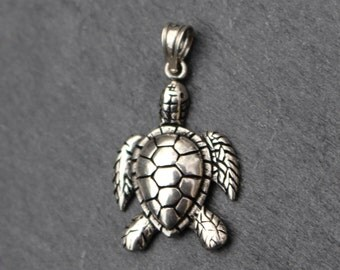 Large Sea Turtle Pendant / Charm -  Sterling Silver