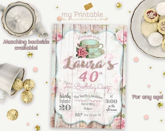 Tea Party Invitation / Digital Printable Birthday Invite for Adults / DIY Party