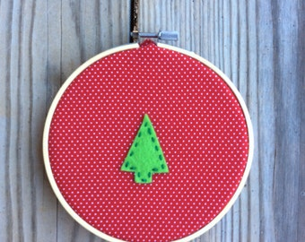 Christmas Tree Holiday Embroidery Hoop Decor