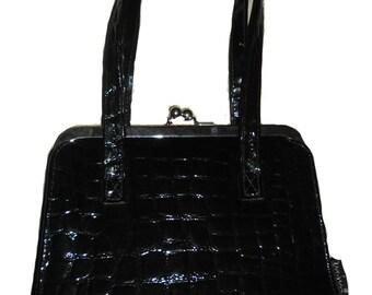 Black Mock Crocodile Vintage Handbag