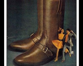"Vintage Print Ad November 1968 : Dingo Boots ""The 1969 Shoe"" Advertisement Color Wall Art Decor 8.5"" x 11"""