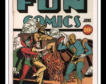 "Vintage Print Ad Comic Book Cover : The Spectre Fun Comics #56 June 1940 Howard Sherman Illustration Wall Art Decor 8.5"" x 11"""