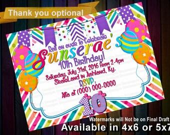 RAINBOW girls birthday invitation, Chevron Invitation, Rainbow invite, Colorful Invitation, Rainbow Birthday, Girl Birthday Invitation, DIY