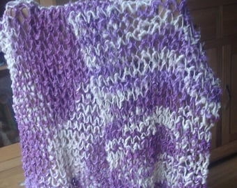 Hand Knitted Banana Silk Purple and Cream Long Scarf